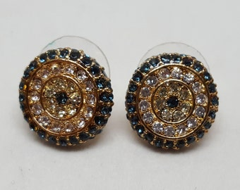 """Vintage round paste earrings, signed """"CN"""", pierced ears only"""