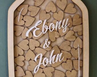 Wedding Guest Book | Alternative Wedding Guest Book | Drop Box | Alternative Rustic Guest Book | Wedding Gift - Mason Jar Drop Box PAINTED 1