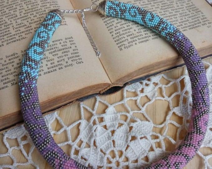 Сurls necklace pink grey purple blue gift for her unusual casual beadwork crochet rope gentle jewelry beadwork statement multicolor romantic
