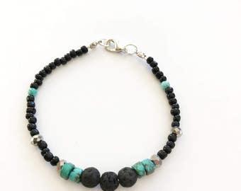 Turquoise diffuser bracelet beaded bracelet lava stone bracelet oil diffuser bracelet diffuser turquoise bracelet gift for her aromatherapy
