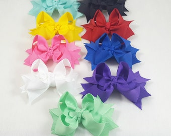 Set of 9/Mini Hair Bows-Hair Accessories/Little Girl Hair Bow/Toddler Hair Bow/Tween Hair Bows /Pig Tails/Pink/Horse/Stack Hair Bow/Mini Bow