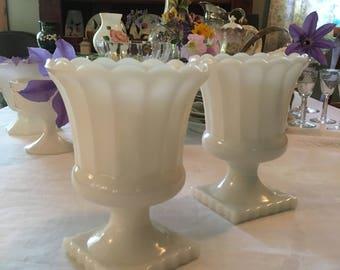 Vintage Milkglass White Pedestal Vases Set of Two Collectable Milkglass Bridal Decor Shower Decor Cottage Style Home Decor