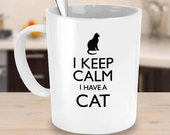 Cat lover mug,rescue cat mug,Tea mug,coffee mug,drinking mug,travel mug,11oz mug,15oz mug,black cat mug,cat lover gifts, I Keep Calm Cat Mug