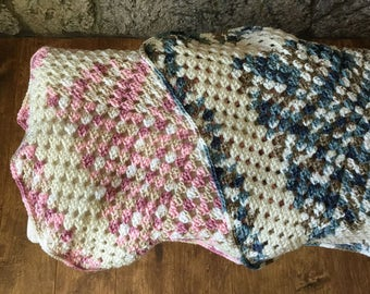 Large Granny Square Afghan, Lap Afghan, Baby Blanket, Dog Blanket, Crochet, Handmade, Made in CA
