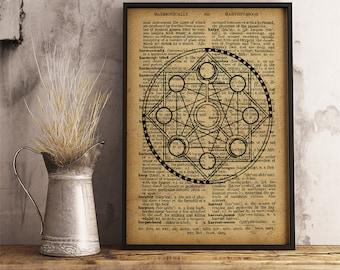Magic circle decor , Occult symbol print, Magic Wall Art decor, Esoteric Illustration vintage style dictionary print, Alchemy Art (AL04)