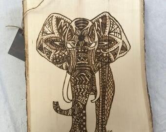 Tribal Elephant Woodburning
