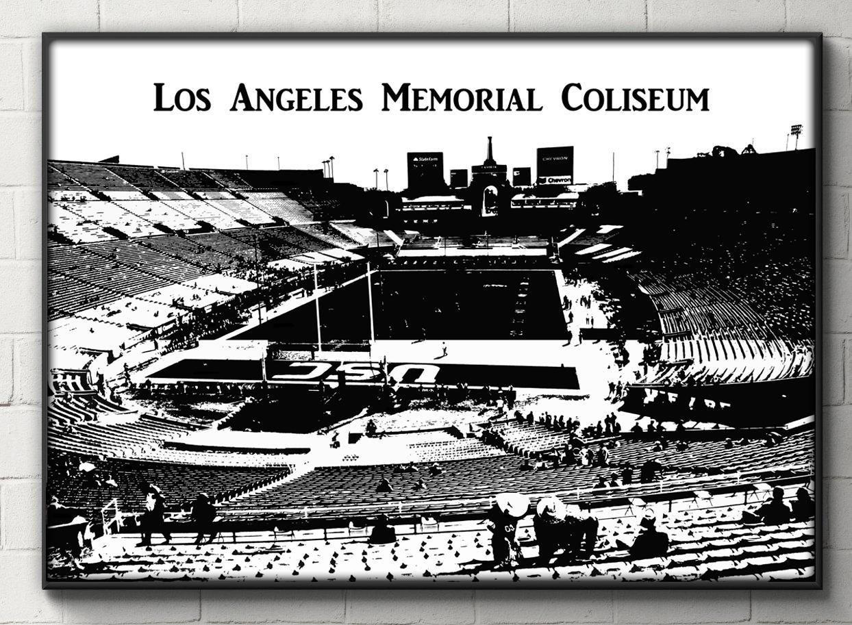 Black And White Los Angeles Memorial Coliseum Poster USC - Los angeles poster black and white