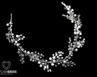 Wedding Hair Piece, Wedding Pearl Crystal Hair Vine, Pearl Crystal Hair Vine, Bridal Crystal Hairpiece,Crystal Hair Wreath