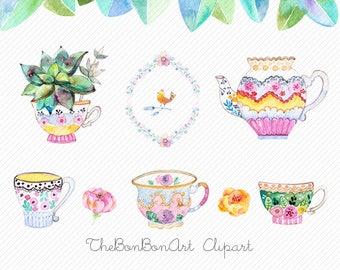 High Tea Watercolor Clip Art. Tea Pot ClipArt, Tea Cup Illustration, watercolor flower clip. tea cups clipart. tea party clipart