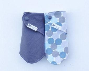 TWO - Bandana Bibs, Teething bibs, drool bibs, Blue, Light blue, Light gray, and dark gray