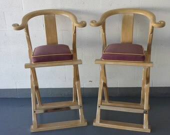 Pair of 1980's Asian Style Back Wooden Bar stools