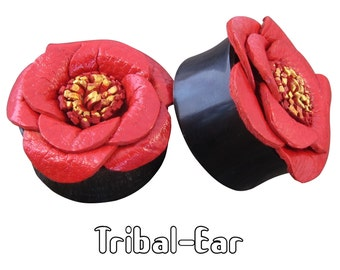piercing plugs leather rose buffalo horn Tribal-Ear plug Body Ethnic jewelry
