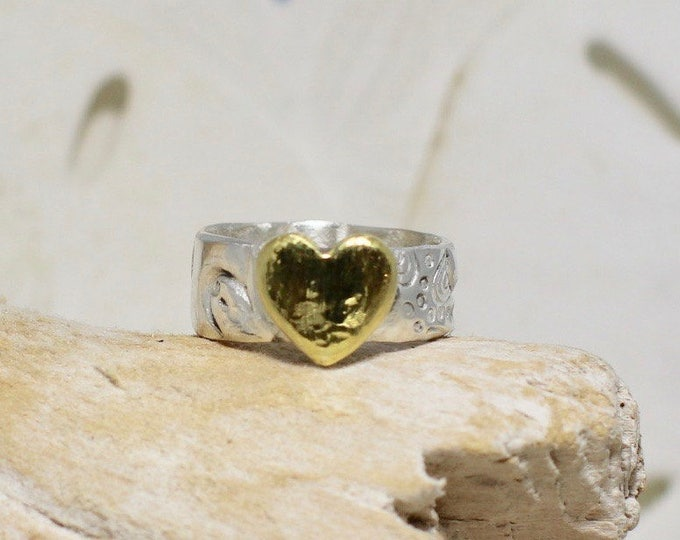 Fine Silver .99% Wide Band with  Starfish Imprint and 22k Gold Plated Heart Ring sizes 4.5, 5, 6.5, 7.5 and 9