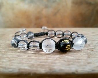 Buddhist OM bracelet Shamballa bracelet Yoga bracelet Mantra jewelry Quartz bracelet Om Yoga jewelry Energy bracelet Om mani Padme hum