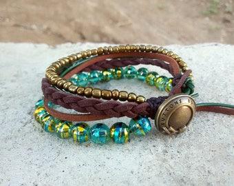 Wrap bracelet Bead Stack Bracelet Gypsy Bracelet Boho Layer Bracelet Multiple Strands Stacking Bracelets layering bracelets Bohemian jewelry