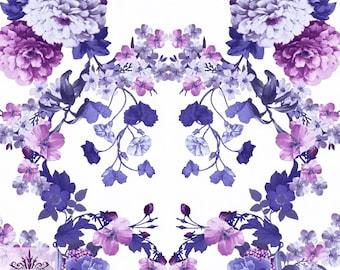 FS090_1 Purple Floral Print Jersey Stretch Scuba Fabric High Quality 1 Metre