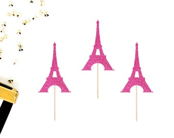 Eiffel Tower Cupcake Toppers (Set of 12) | French Baby Shower | Paris Cupcake Toppers | Paris Party Decor | Glittery Eiffel Tower Toppers