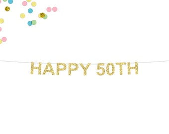 Happy 50th Glitter Banner | 50th Birthday Banner | Birthday Banner | Fifty | 50th Party Banner | 50 | 50th Wedding Anniversary | 50th Decor