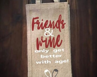Friends and wine bag