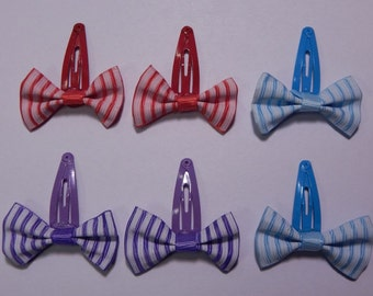 Mini Striped Bows 6 pack