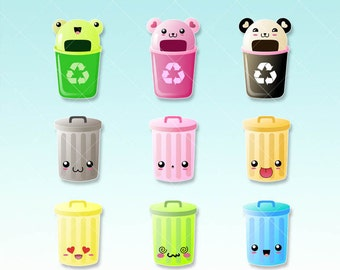 Trash Can Kawaii Clipart - Recycle clipart - Digital graphics perfects for planner stickers or scrapbooking - Silhouette machine ok