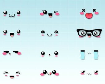 Kawaii faces expressions clipart - emoticons kawaii - Digital graphics for personal and commercial use.