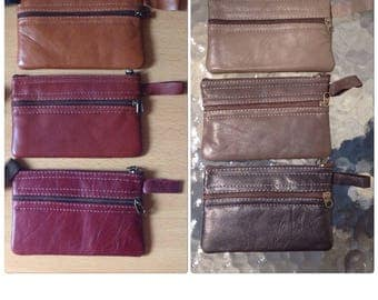Leather Zip Coin Pouch