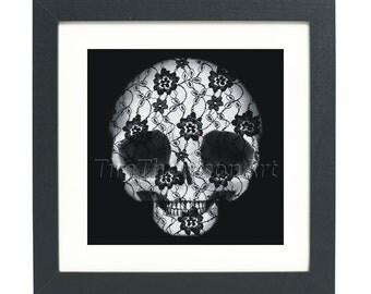 Lace Skull Digital Painting - #DeadPullipSociety series - Giclee Print