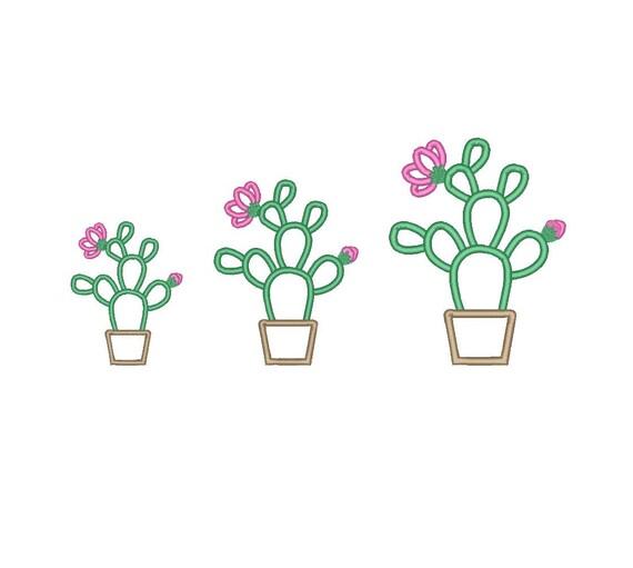 Cactus with flowers applique opuntia machine