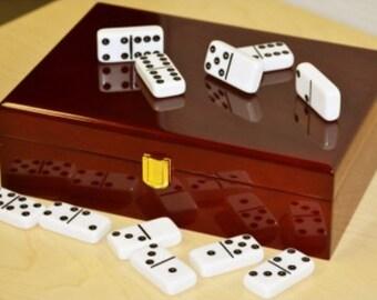 Plain Double 9 Piano Finish Wooden Box