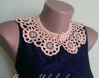 Orange collar necklace Crochet collar necklace Crochet jewelry Gift for her Lace collar orange Crochet necklace Woman accessories