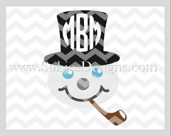Snowman Monogram SVG, DXF, PNG Files for Cricut and Silhouette cutting machines Christmas monogram svg files, Snowman svg, Monogram svg