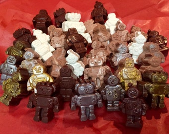 1 Dozen Chocolate Classic Sci-Fi Robots in Milk, Dark, White, and Truffle Assortment of Delicious Novelty Candy So Cute!