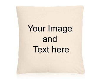 Personlised Canvas, Natural Cushion Cover, 40x40cm. Your own Image and Text. Any Image from my site etc.