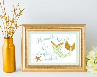 Mermaid Kisses & Starfish Wishes Print - Mint and Gold
