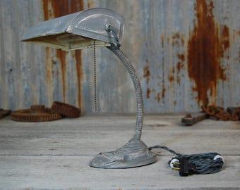 vintage desk lamp, desk lamp, rustic lamp, office desk lamp, refurbished desk lamp, steampunk lamp, steampunk