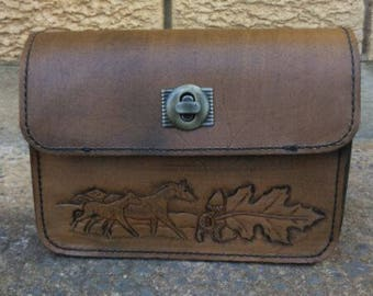 Leather Hand Bag 'Mare & Foal' Design