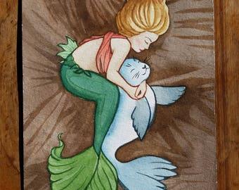 Mermaid and Seal Watercolor Painting