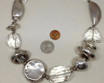 Sterling Silver and Rock Crystal Artisan Studio Necklace