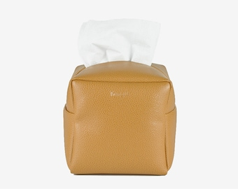 PU Leather Tissue Box Cover, Square Tissue Holder, Facial Tissue Case, Toilet Paper Holder, Soft Touch, Tan