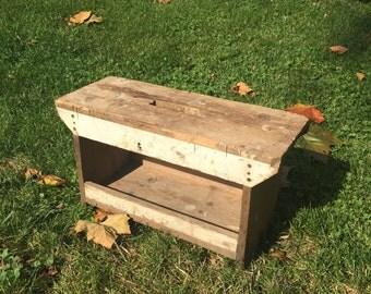 Vintage Wood Bench, Primitive Wood Bench, Handmade Bench, Farmhouse Decor, Cottage Chic, Rustic Decor, Primitive Decor