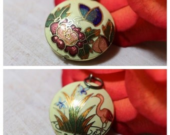 Vintage 1970 Cloisonné Butterfly Flamingo round 2-sided pendant brass accents, estate jewelry