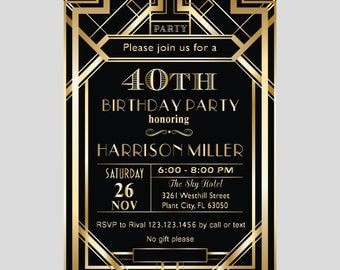 printable great gatsby art deco elegant 30th 40th 50th 80th 90th birthday surprise party invitation - Gatsby Party Invitation