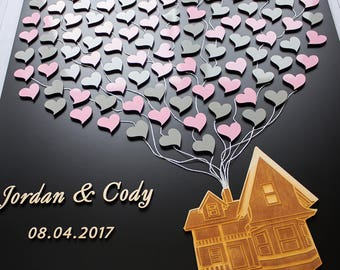 3D Wedding guest book alternative Flying house with balloons Up Movie inspired wedding guestbook Movie up guest book Up house guest book