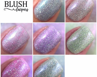 Full 6-piece Flower Gathering collection with FREE polish, Morning Glow - Blush Lacquers