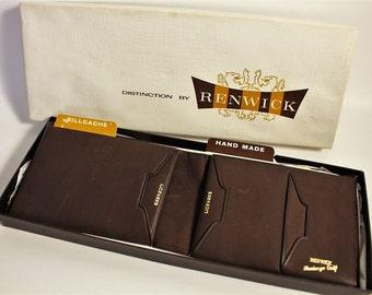 Brown Leather Wallet ~ RENWICK Fandango Calf Leather Canada ~ Vintage Mens Bill Fold Wallet ~ Soft Brown Calf Skin in Original Box