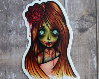 Zombie Girl 3 Inch Vinyl Sticker (Inspired by the undead walkers from The Walking Dead)