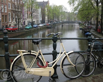 Amsterdam Bicycle Photo, Fine Art Photography, Netherlands Bike Photo, Dutch Canal Photo, Holland Canals, White Bike Home Decor Office Decor