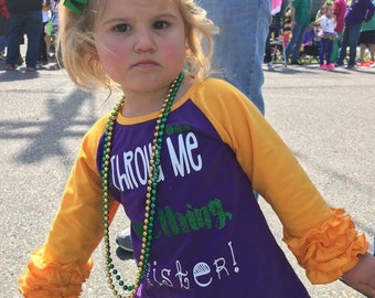 Throw me something, mister girls ruffle raglan t-shirt. Glitter shirt for babies and toddlers. Mardi Gras tee for parades. New Orleans shirt