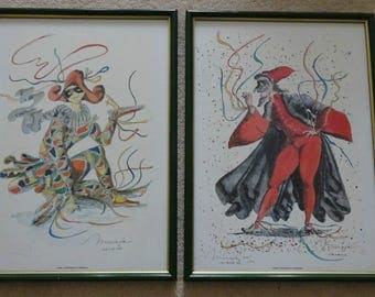 Gianfranco Missiaja Harlequin Framed & Glazed Numbered Limited Edition Paintings
